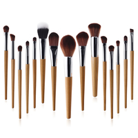 GUJHUI 15pcs Wood Makeup Brush Set High Quality Soft Synthetic Hair And Nature Bristles Professional Makeup