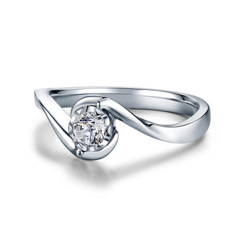 ANI 18 K or blanc (AU750) femmes bague de mariage 0.2 CT certifié I/SI taille ronde Solitaire diamant Design amoureux bagues de fiançailles - 2