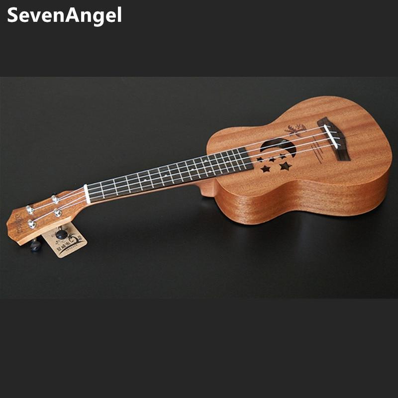SevenAngel acoustique électrique ukulélé 23 pouces hawaïen Mini guitare 4 cordes Ukelele sapele étoile lune partten avec pick-up EQ - 2