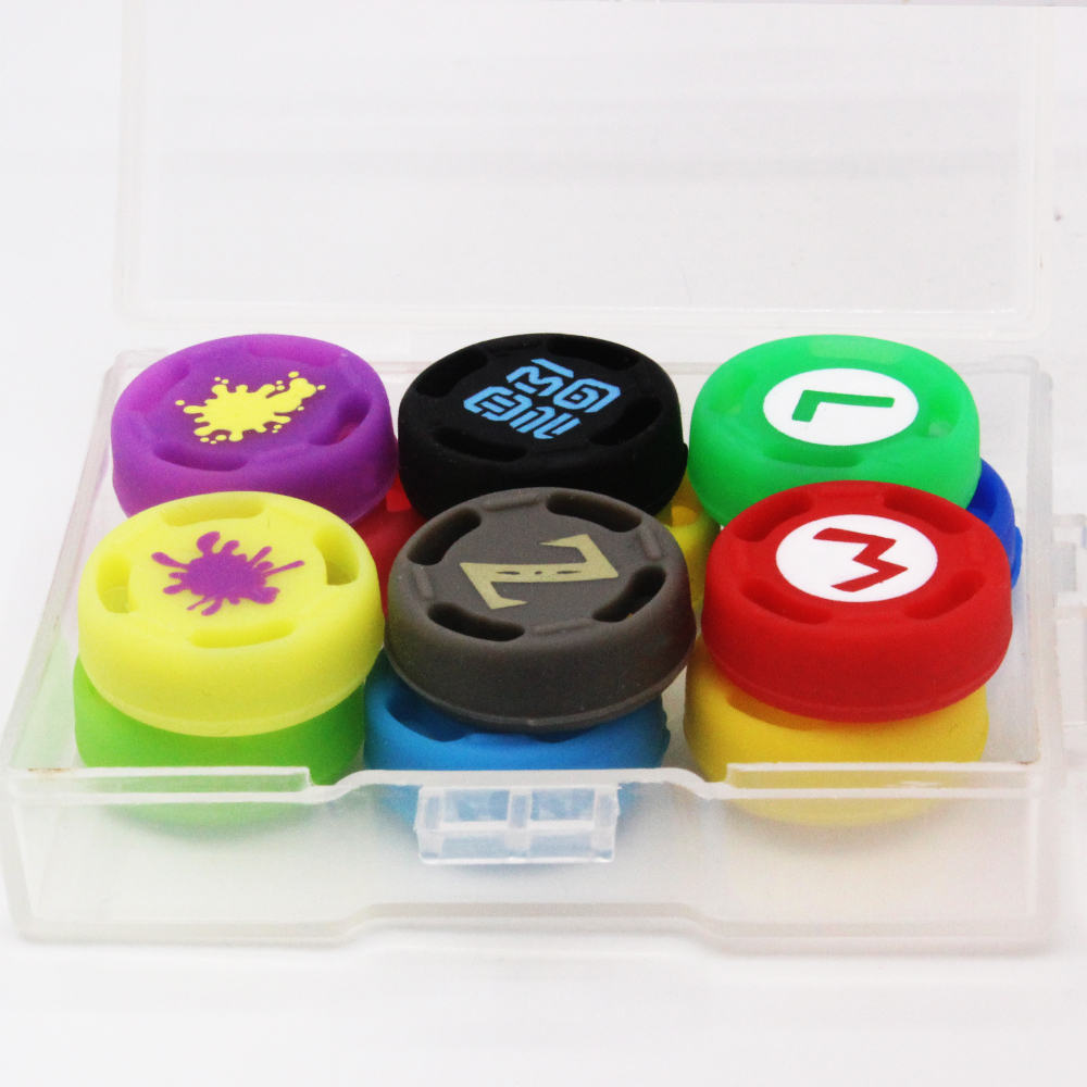 12 Uds juego de silicona analógico pulgar Stick puños tapas para Nintend Switch NS deslice el controlador Palos de la piel para la alegría Con cubierta