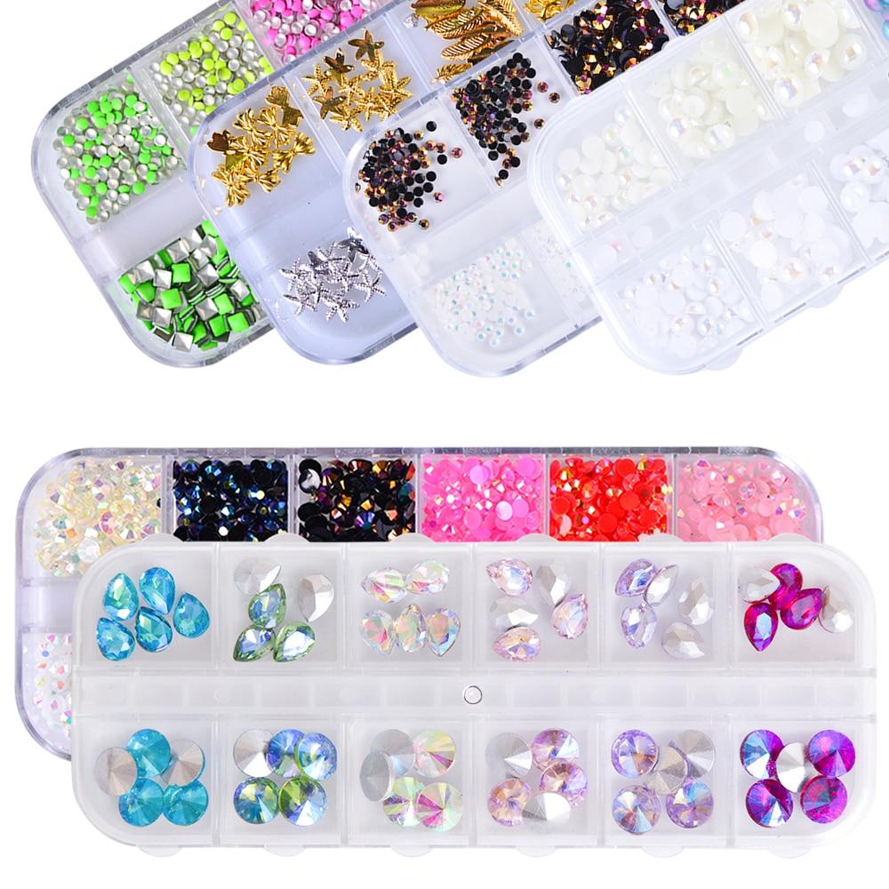 1 Set Nail Rhinestone Mixed Size DIY Pearl Diamond FlatBack