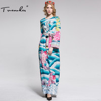 Truevoker Designer Long Dress Women Long Sleeve Multicolor Bird Printed Diamond Plus Size XXL Tied Waist