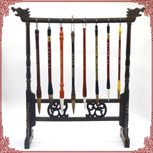 Antique Simple Style Writing Brush Rack Solid Wenge Wood Calligraphy Penholder Traditional Painting Brush Holder 16 Hangers