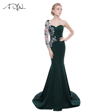 ADLN 2017 Stock Evening Dresses Robe De Soiree Mermaid Applique Sweetheart Long Sleeves Floor Length Formal Party Prom Dress