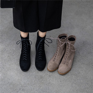 Image 3 - Caviglia stivali per le donne 22 25 centimetri di lunghezza autunno e in inverno stivali donne punta Rotonda Elastico panno di velluto metà Tacco alto stivaletti femminile + scarpe