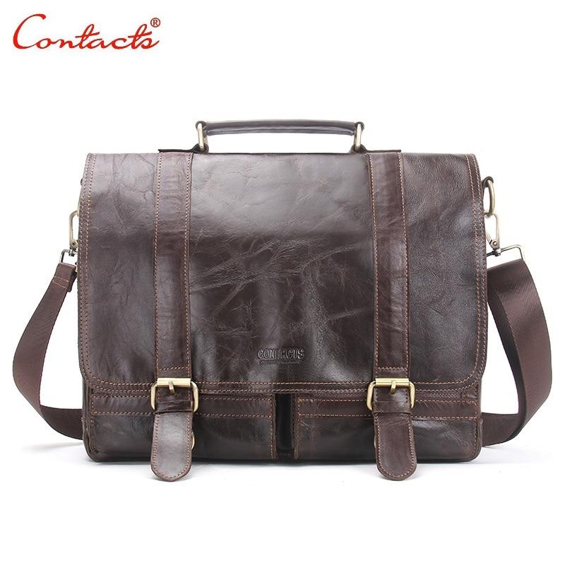CONTACTS 2017 New Men Retro Briefcase Business Shoulder Bag Leather Handbag Bag Computer Laptop Messenger Bags Men's Travel Bags