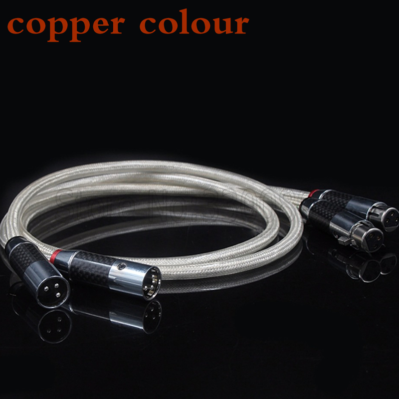 где купить 1.5M/pair copper colour  Carbon fiber XLR plug Silver Plated Audio balance Cable по лучшей цене