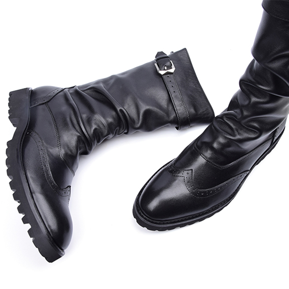 2017 Latest Men's Mid-calf Boots Genuine Leather Buckle Strap Round Toe Men's Leather Shoes Chakku Motorcycle Boots zippers double buckle platform mid calf boots