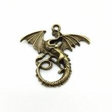 6 pçs/lote Liga de bronze Do Vintage Criativo Dragão Voador Trendy Colar Pulseira Pingente Encantos DIY Acessórios Jóias Presentes Mulheres