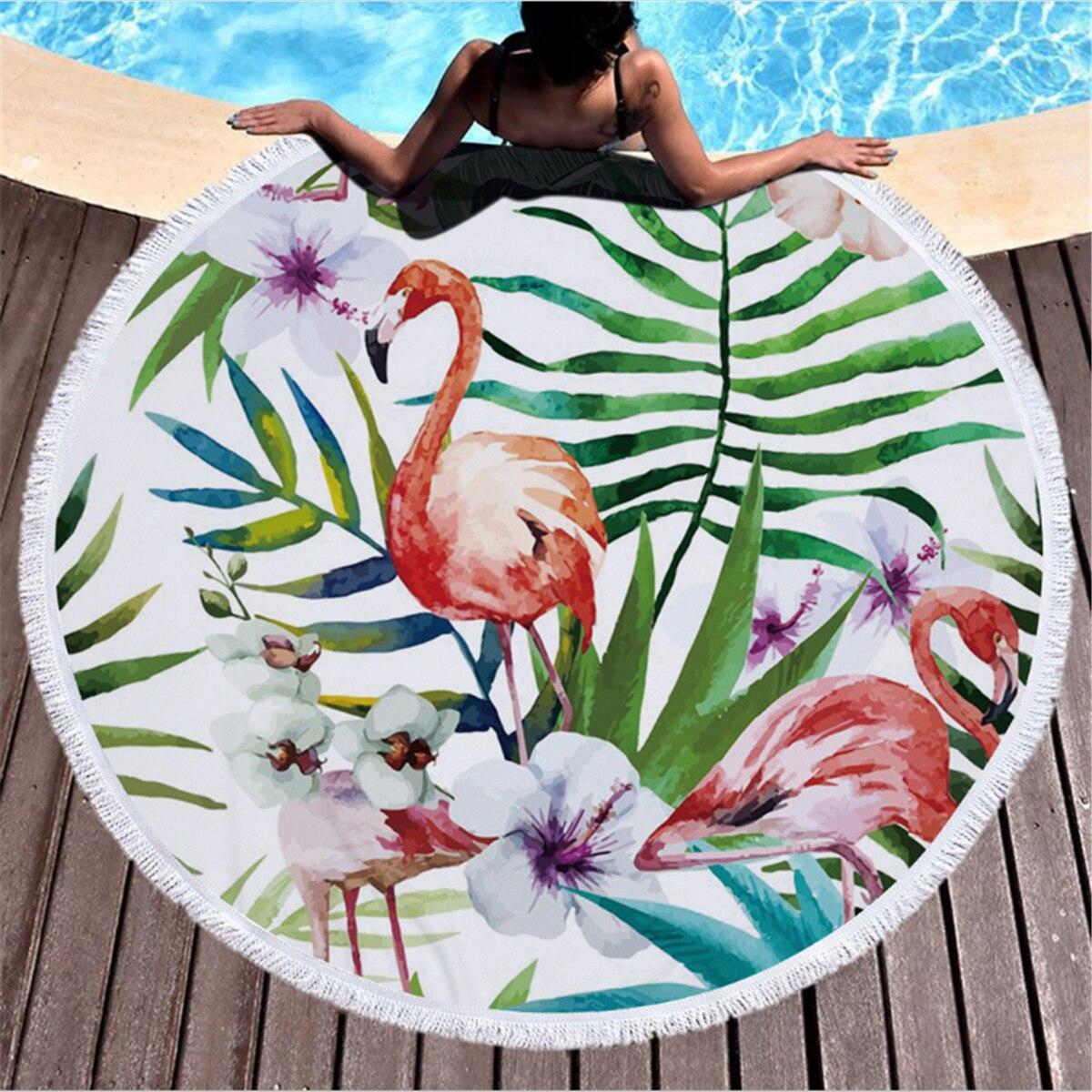 Summer Indian Flamingos Mandala Beach Towels Wall Hanging Tapestry with Tassel Bedspread Yoga Mat Blanket 150cm Home Decoration