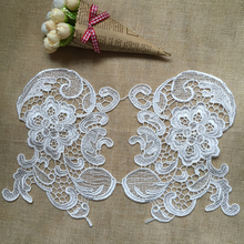 10Pieces White Laces Appliques Embroidered Polyester Applique Neckline Collar Lace Trims For Sewing Decoration