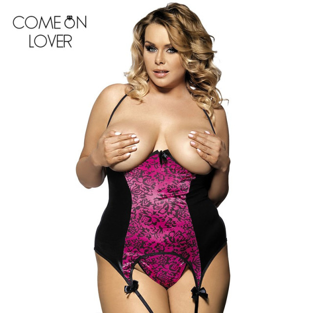 R70134 Come on lover Hot women plus size lingerie cupless bustier and thong open bra
