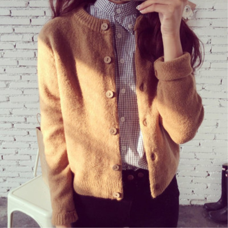 Spring Autumn Cardigans Women Tops Knitted Cardigan Round Neck Womens Cardigan Long Sleeve Plus Size Short Jacket Sweaters Coats