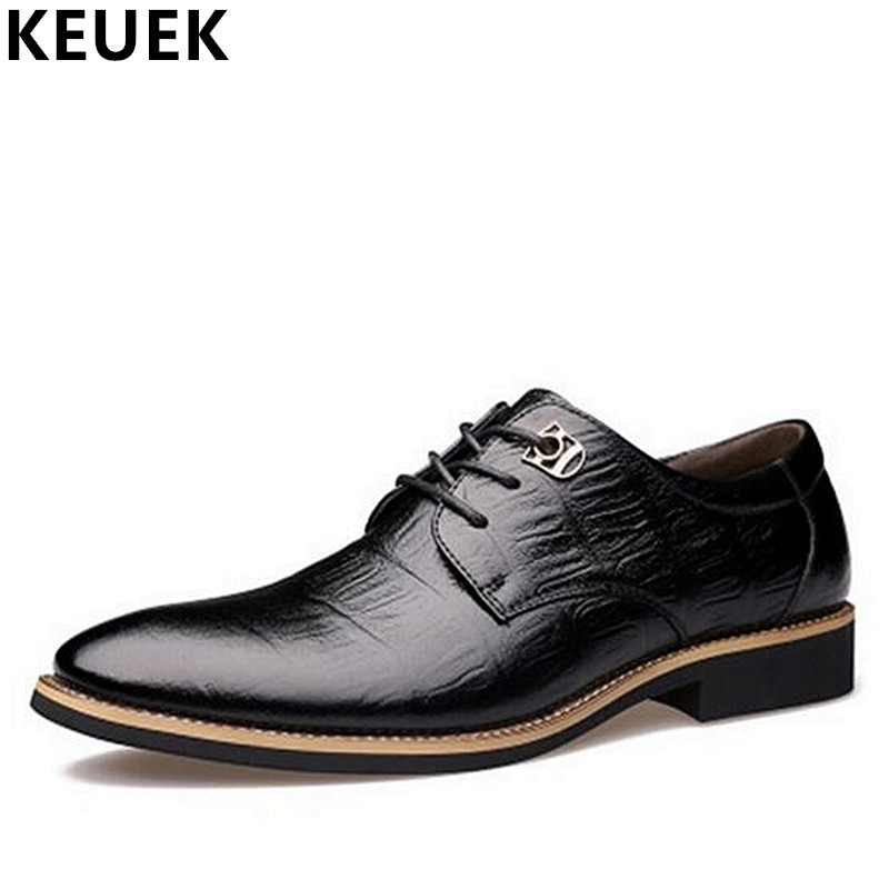 Luxury craft Genuine leather Derby shoes Men Business Dress Pointed Toe Leather shoes  Lace-Up Flats Male Oxford Loafers 3A pjcmg new fashion luxury comfortable handmade genuine leather lace up pointed toe oxford business casual dress men oxford shoes