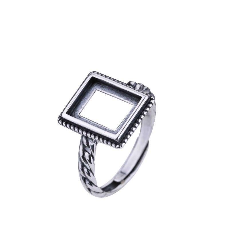 925 เงินสเตอร์ลิงผู้ชายหมั้นแหวน 8X10mm Princess Cabochon กึ่ง Mount แหวน Art Deco Vintage