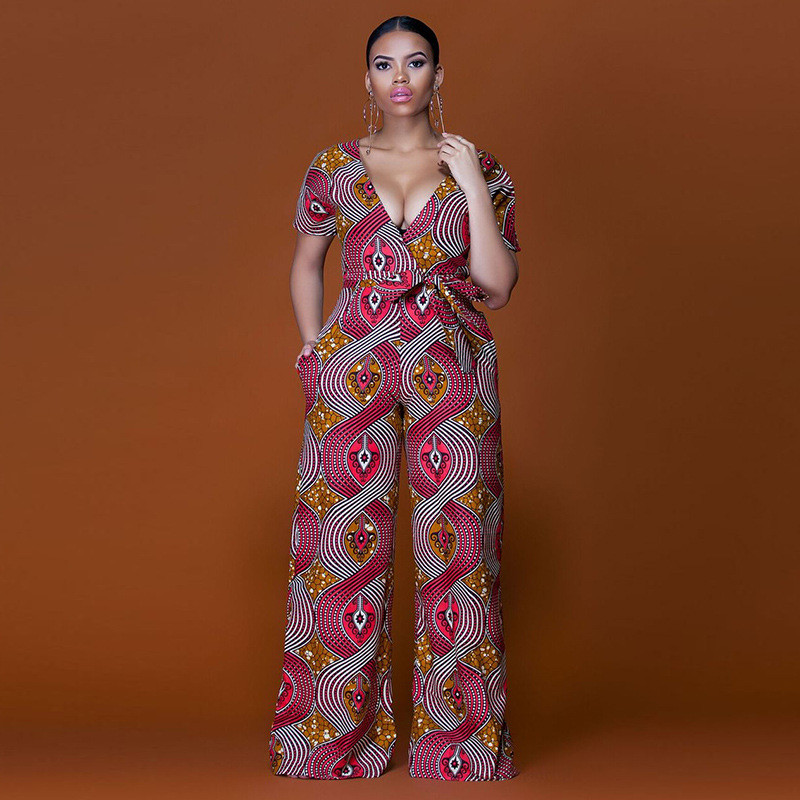 2018 Summer Bazin Lady Sexy Deep V-Neck Jumpsuits Women Plus Size Jumpsuits African Style Print Jumpsuits