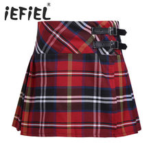 iEFiEL Children Kids Girls Pleated Side Split A-line Plaid Skirt Tartan Kilt with Faux Leather Buckle Vestidos Infantil Skirt(China)