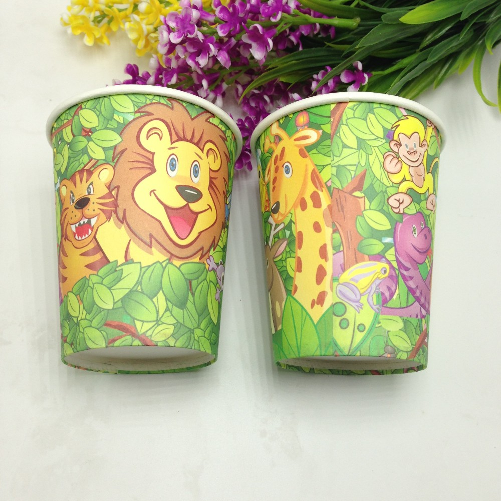 <font><b>Jungle</b></font> King Lion theme paper <font><b>cups</b></font> tableware kids favors for event party supplies child happy <font><b>birthday</b></font> party decorative <font><b>cup</b></font>*10pcs
