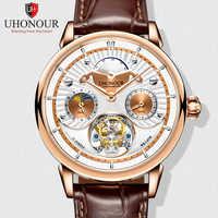 Top Brand Multi-function Men Hollow Tourbillon Watch Luxury Sapphire Dial Moon Phase Calendar Men's Clock Seagull ST8007 24 Hour