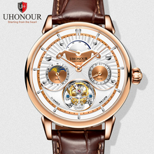 Top Brand Multi-function Men Hollow Tourbillon Watch Luxury Sapphire Dial Moon Phase Calendar Men's Clock Seagull ST8007 24 Hour все цены