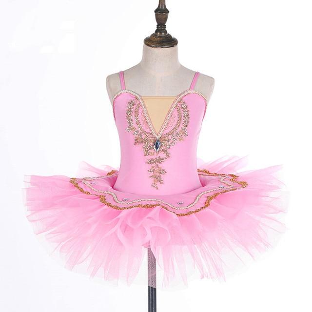 Sukienka baletowa Pinky Tutu do tańca dziewczyny Tutu mały biały łabędź jezioro taniec sukienka różowe słodkie dziewczyny Barre kostiumy 4 kolor