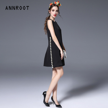 ANNROOT 2017 spring Summer new high-quality backing vest O-neck  black dress women fashion events important occasions dress