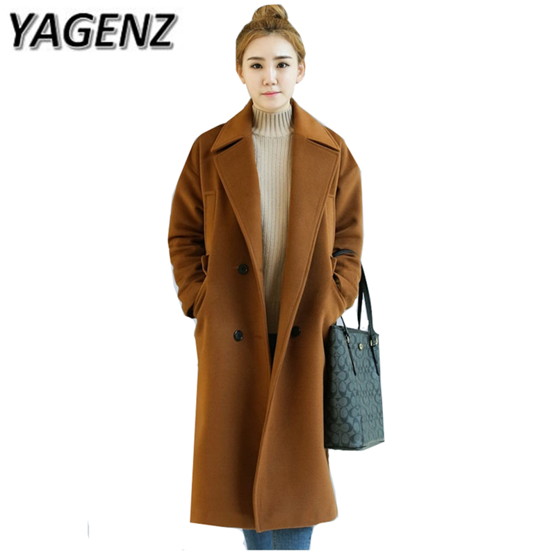 YAGENZ 2017 High-quality Women Winter Woolen Jacket Loose Double-breasted Solid Long Overcoat Casual Warm Female Wool Coat 3XL 2018 new fashion suede lamb wool women coats double breasted warm solid thick long overcoat casual winter cotton jackets female