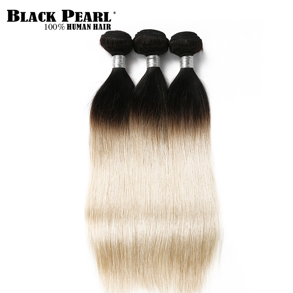 Black Pearl Ombre Brazilian Hair Weave Bundles Remy Human Hair Extensions 3 Bundles Ombre Blonde Straight Hair Weft T1b613