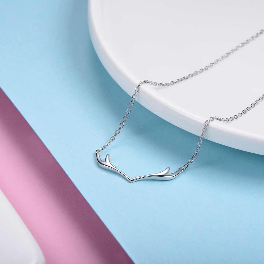 Kpop 925 серебро рога лося Цепочки и ожерелья s простой Dainty ювелирные изделия рог оленя Цепочки и ожерелья подвеска для Для женщин P6011