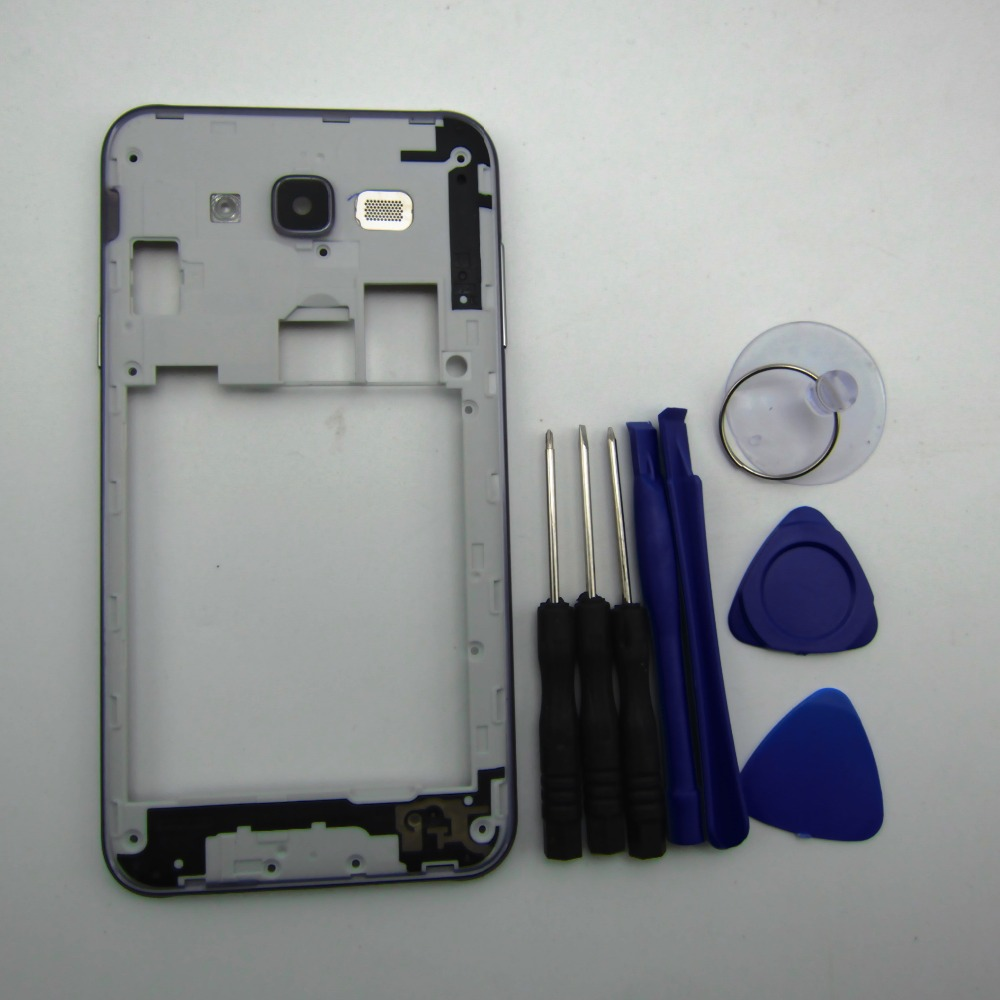 Housing Case replacement Parts For Samsung Galaxy J7 2015 J700 Sliver Middle frame bezel Chassis with tools
