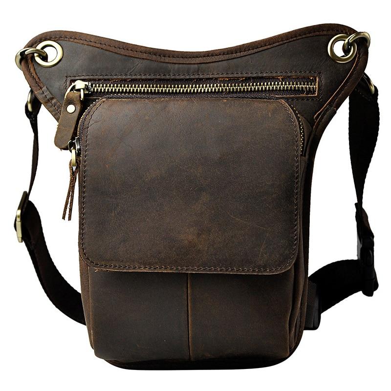 नई शीर्ष गुणवत्ता असली असली लेदर Cowhide पुरुषों विंटेज ब्राउन छोटे कमर बैग पैक फोन के मामले पैर बैग