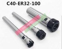 Free Shipping C40 ER32UM 100L Collet Chuck Holder 100mm Extension Straight Shank for ER32 Collet with ER32UM Nut