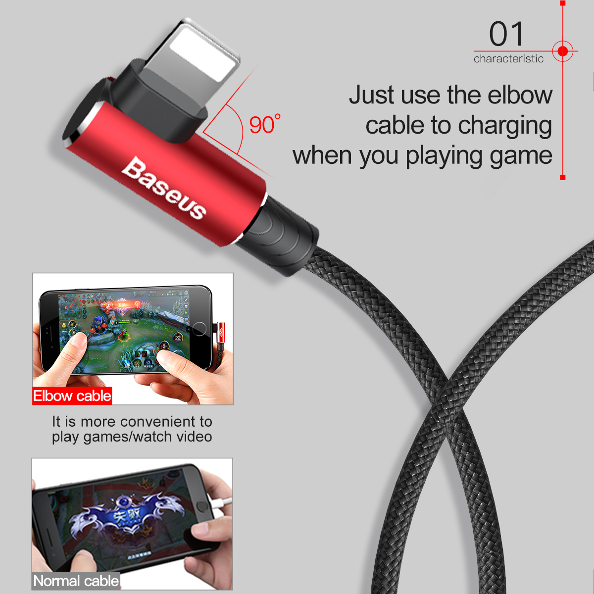 baseus 90 degree usb cable for iphone 5 6 6s 7 8 fast. Black Bedroom Furniture Sets. Home Design Ideas