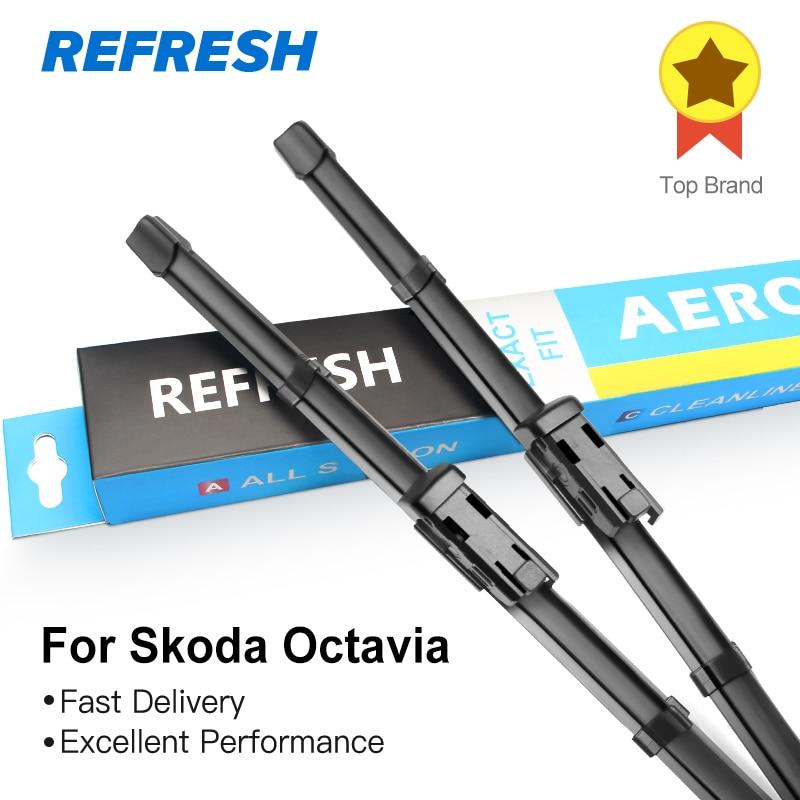 REFRESH Limpiaparabrisas para Skoda Octavia Combi Hatchback Mk1 Mk2 Mk3 Fit Hook / Pin lateral / Brazos pulsadores