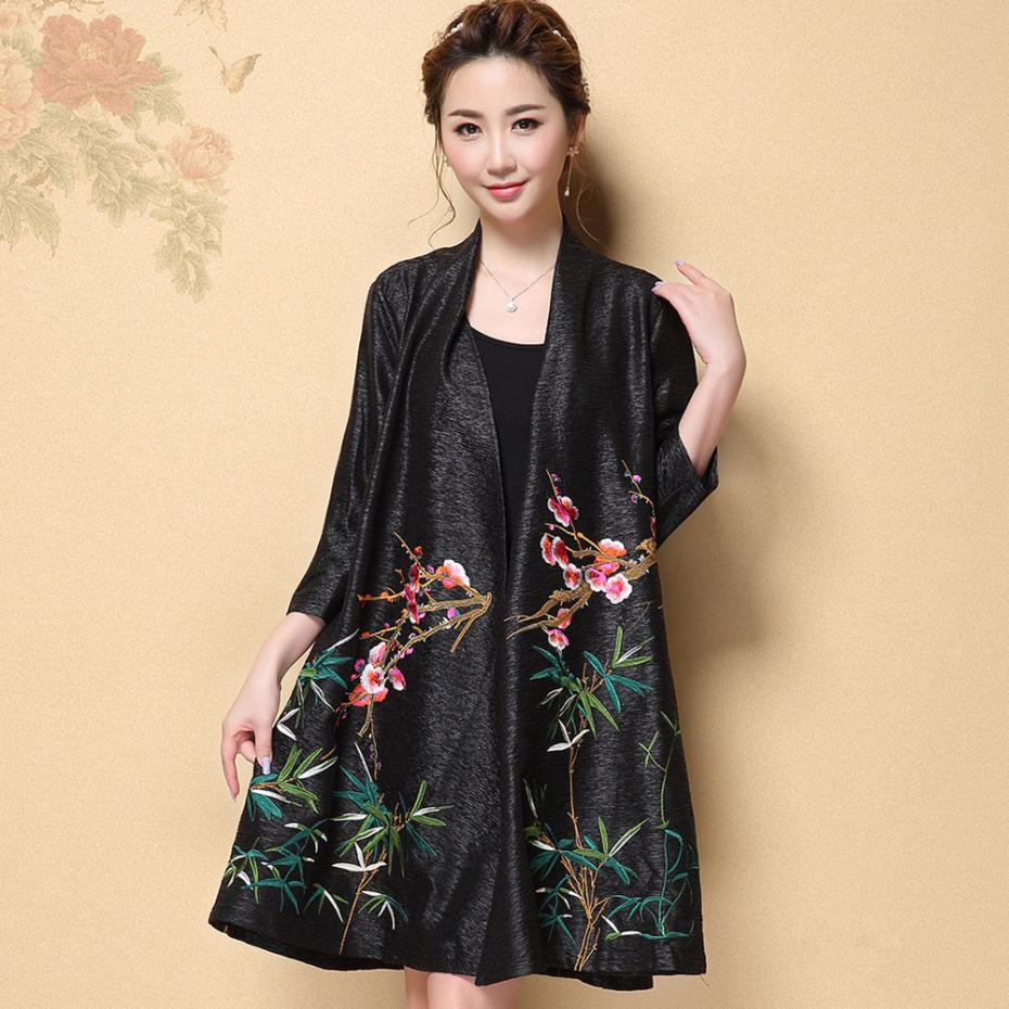 e3db24be19d Embroidery Kimono Jacket Women Silk Cardigans Plus Size 4XL Chinese Style  Tops Poncho Loose Flower Cape Cardigan Female Cloak-in Basic Jackets from  Women s ...