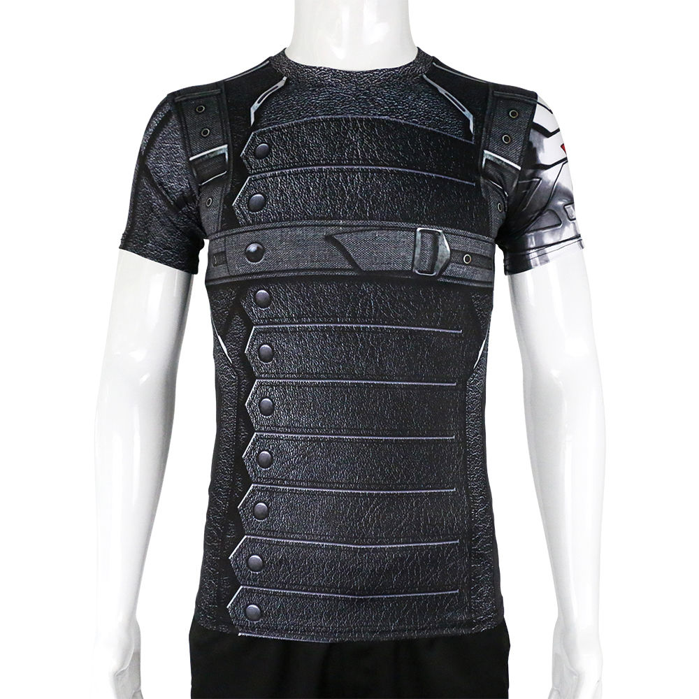 Captain America 3 Winter Soldier Bucky Barnes Short Sleeves T-Shirts  Cosplay T-shirts Halloween Use