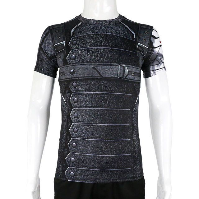 captain america 3 winter soldier bucky barnes short sleeves t shirts cosplay t shirts