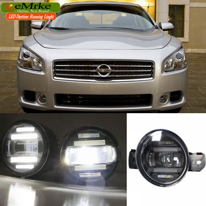 eeMrke Xenon White High Power 2in1 LED DRL Projector Fog Lamp With Lens For Nissan Maxima A35 2008-2014 laser hijau jarak jauh