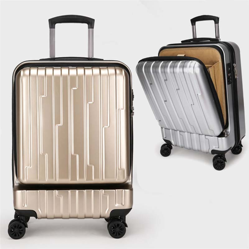 LeTrend Innovative design Rolling Luggage Spinner Cutting open Trolley Suitcase Wheels 20 inch Women Cabin Travel Bag Trunk