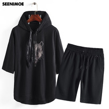 Seenimoe Two Piece Track Suit For Men Hooded Sweatshirt + Pants Mens Sweat Suits 2019 Brand Tracksuit Mens Sets Summer Hoodie(China)