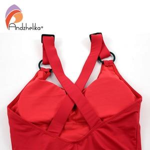 Image 5 - Andzhelika Women New One Piece Sports Swimsuit Summer Swimwear Soft Cup Bodysuit X Shaped Back Swim Suit Bathing Suit Monokini