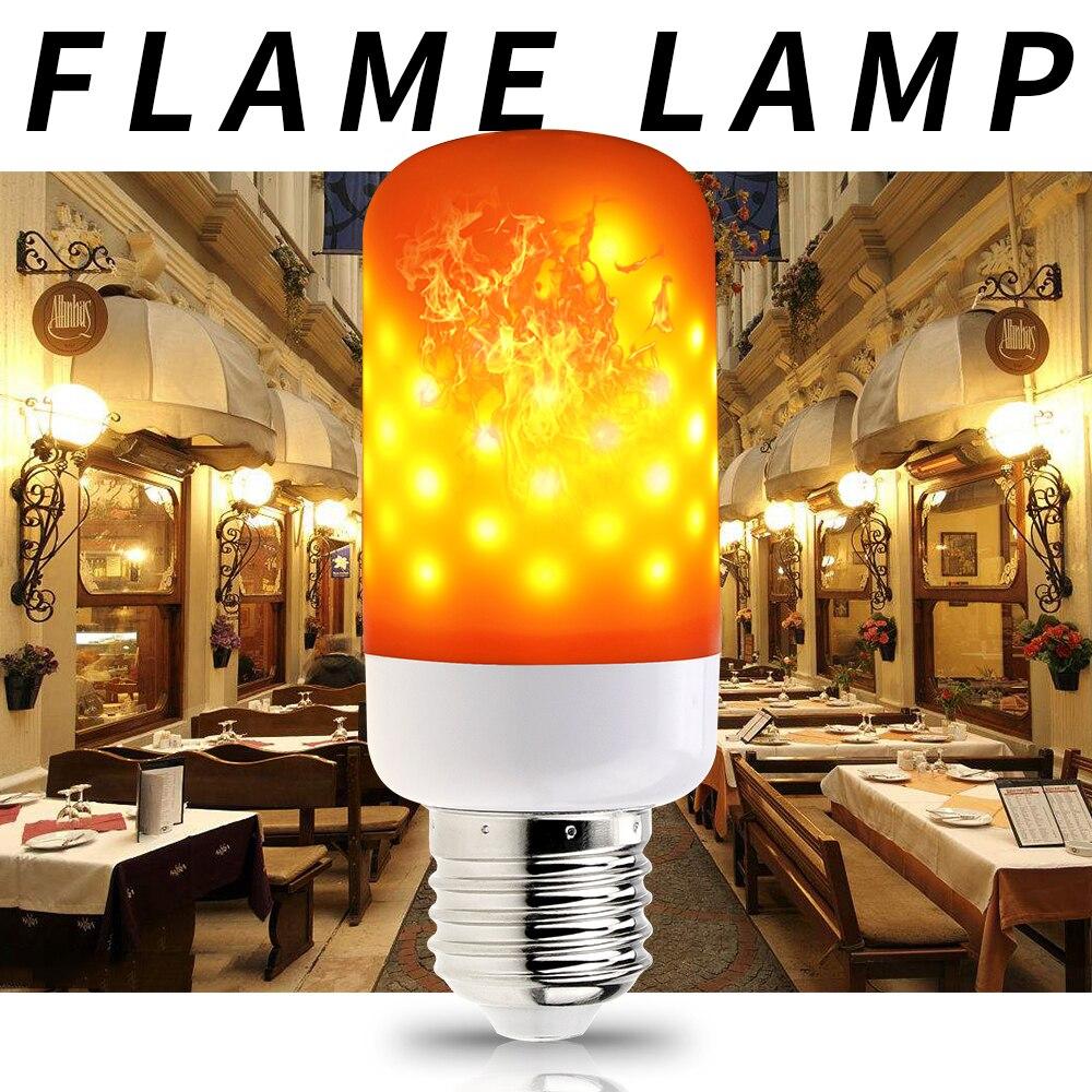 E27 Led Flame Bulb 110V E14 2835 Flame Light E26 LED Flame Lamp 220V Effect Fire Corn Bulb Flickering Emulation Night Light 5W