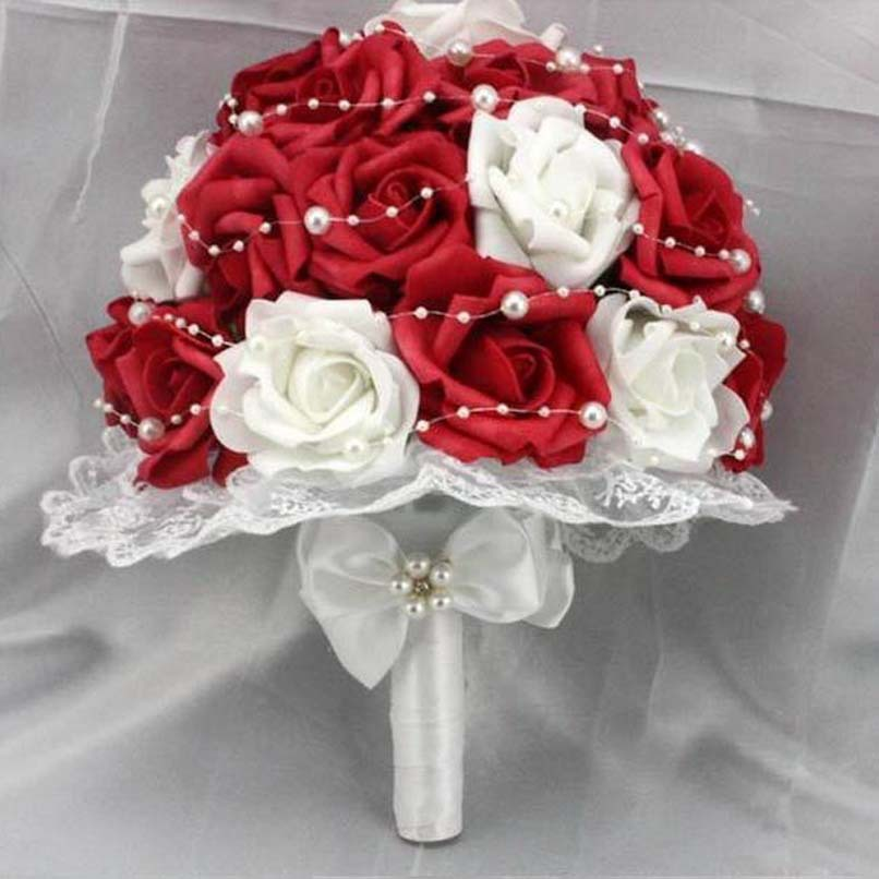 Red Rose Wedding Flowers And White Artificial Pearls Lace Side Bridal Bouquet In Dried From