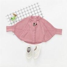 WYNNE GADIS Autumn Winter Baby Girls Knitwear Batwing Sleeve Cape Cloak Kids Sweater Infant Cardigans Outerwear Coat casaco