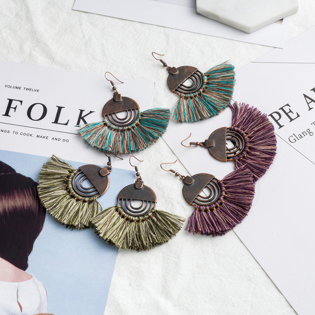 6ebc3039378387 Boho Tassel earrings Charm Colorful Ethnic Long tassel women's earrings  cute big moon earring for women Vintage Tassel earring