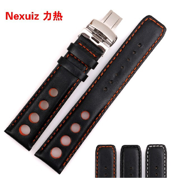WATCHBANDS Black orange stitched Leather Watch Band strap Silver Gold  Buckle For 20mm 1983 T17 T461 PRC200 516 T014 T41