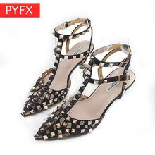 цены Summer selling European American style sexy punk studded sandals T word with Hollow out pointed stiletto heels Women's shoes