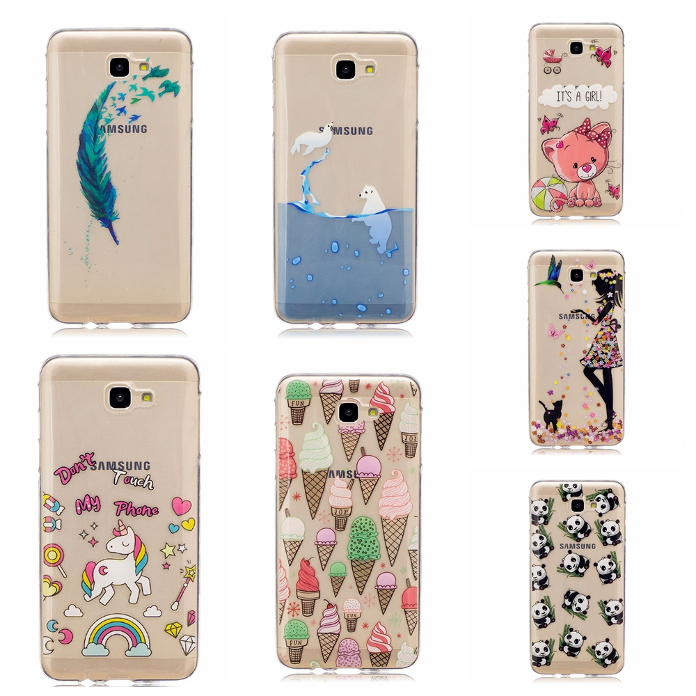 Ice cream cat dolphin feather panda patterns TPU Soft Back cover case Fundas For Samsung J7 Prime phone Case ...