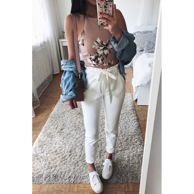 New Fashion White Trousers Pockets Suede Printed Chiffon OL Pants Ankle Length Pants Streetwear Harem Pants