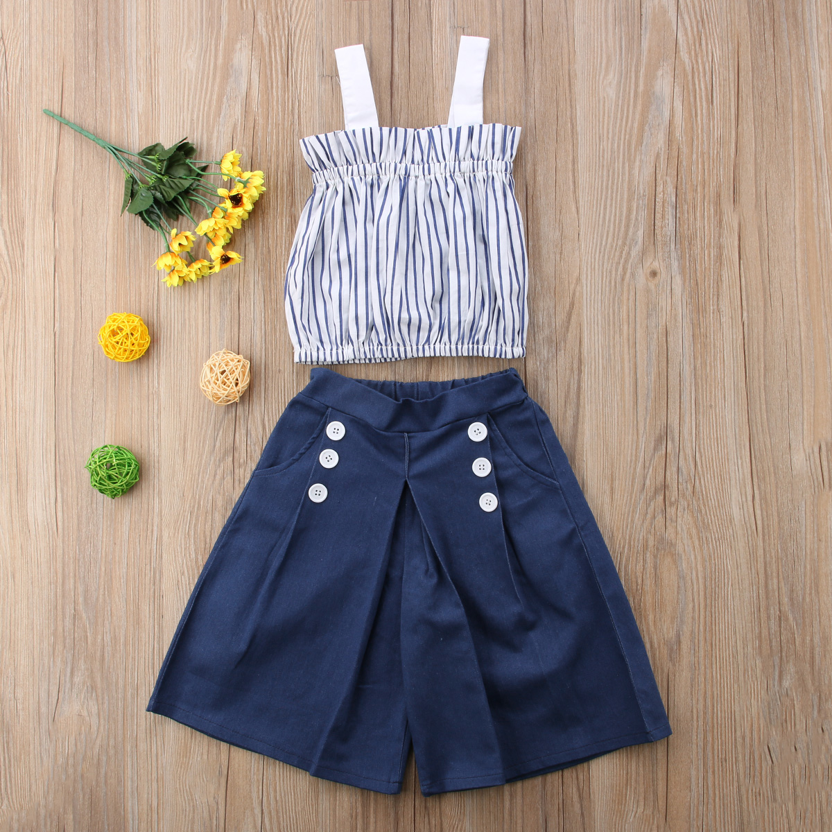 USA Toddler Baby Girl Vertical Striped Sleeveless Tops+Denim Loose Pocket Buttons Pants Jeans 2Pcs Clothes